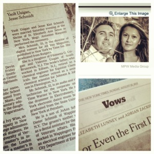 New York Times Wedding Announcement.Our Wedding Announcement In The New York Times Ysolt And Jesse